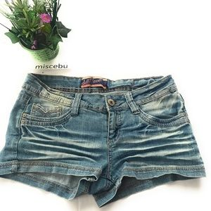 Wallflower Distress booty shorts blue stretch 7